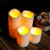 1PC Flameless Plastic Realistic Pillar LED Candle Light - CRYSTAL CREAM