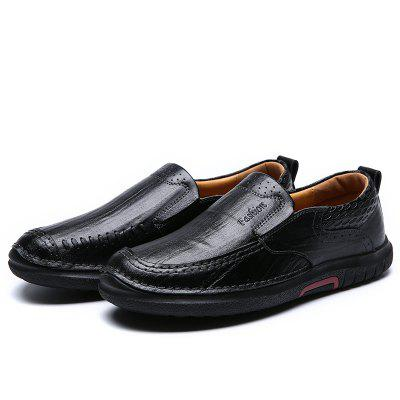 Buy BLACK 39 Men All-match Casual Business Slip-on Leather Shoes for $43.33 in GearBest store