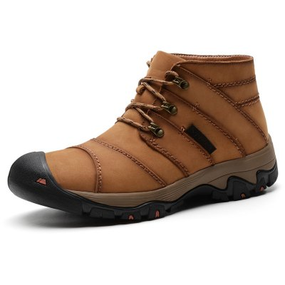 Male Outdoor Genuine Leather High Top Casual Shoes