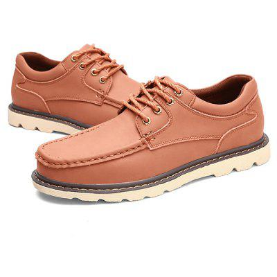 Men Stylish Simple Casual Leather Lace-up Oxford Shoes