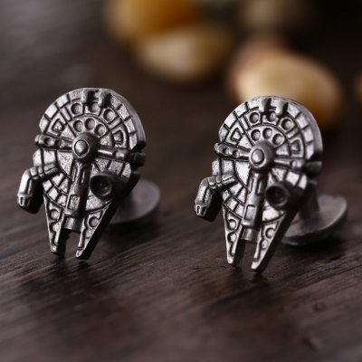 Spaceship Shape Pair of Stylish Cufflinks Clothing Decors