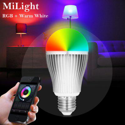 MiLight E27 WiFi Smart Bulb AC 85 - 265VSmart Lighting<br>MiLight E27 WiFi Smart Bulb AC 85 - 265V<br><br>Available Light Color: RGB + Warm White,RGB + White<br>Body Color: Silver<br>Brand: MiLight<br>Emitter Types: SMD 5730<br>Features: WiFi, Remote Control, Long Life Expectancy, Energy Saving, Easy to use, APP Control<br>Function: Commercial Lighting, Home Lighting, Studio and Exhibition Lighting<br>Holder: E27<br>Luminous Flux: 220LM<br>Output Power: 9W<br>Package Contents: 1 x MiLight Smart Bulb<br>Package size (L x W x H): 13.50 x 7.00 x 7.00 cm / 5.31 x 2.76 x 2.76 inches<br>Package weight: 0.1750 kg<br>Product size (L x W x H): 12.50 x 6.00 x 6.00 cm / 4.92 x 2.36 x 2.36 inches<br>Product weight: 0.1200 kg<br>Sheathing Material: Aluminum Alloy<br>Voltage (V): AC 86 - 265V