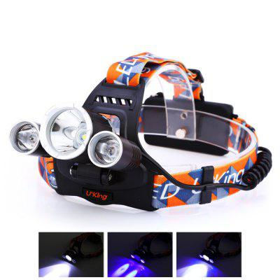 UKing ZQ - X819 LED HeadlampHeadlights<br>UKing ZQ - X819 LED Headlamp<br><br>Available Light Color: White + Purple<br>Battery Quantity: 2 (included)<br>Battery Type: 18650<br>Beam Distance: 300-400m<br>Body Material: Aluminium Alloy<br>Color: Black<br>Emitters Quantity: 3<br>Feature: Power indicator light, Dual Light-source, Cooling Slot of High Efficiency, Can be used as headlamp or bicycle light, Angle adjustment<br>Function: EDC, Exploring, Household Use, Night Riding, Walking, Camping<br>Headlight Brand: UKing<br>Luminous Flux: 2000LM<br>Main Emitters: Cree R5,Cree XM-L T6<br>Mode: 4 (White; Purple; White + Purple; White + Purple Strobe)<br>Mode Memory: Yes<br>Model: ZQ-X819<br>Package Contents: 1 x LED Headlamp, 1 x Headband, 2 x 4200mAh 18650 Battery, 1 x 100 - 250V EU Plug AC Charger, 1 x Car Charger, 1 x English Manual<br>Package size (L x W x H): 11.50 x 11.00 x 10.00 cm / 4.53 x 4.33 x 3.94 inches<br>Package weight: 0.3950 kg<br>Power Source: Battery<br>Product size (L x W x H): 7.80 x 5.50 x 3.50 cm / 3.07 x 2.17 x 1.38 inches<br>Product weight: 0.1850 kg<br>Rechargeable: Yes<br>Reflector: Aluminum Smooth Reflector<br>Waterproof: IPX-4<br>Working Time: Max 3h<br>Working Voltage: 3.7V