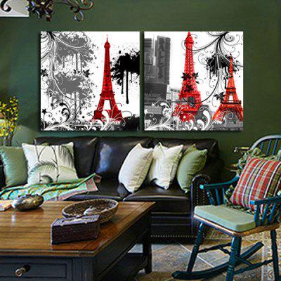 2PCS Red Tower Printing Canvas Wall Decoration