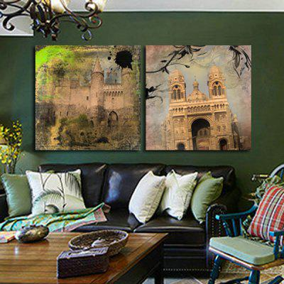 2pcs Famous Building Printing Canvas Wall Decoration
