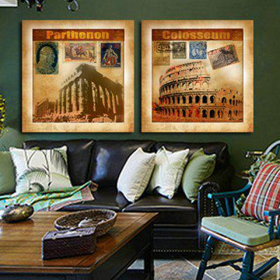2PCS Classical Castle Printing Canvas Wall Decoration