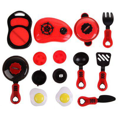 Red Simulation Kitchen Tableware Toy 12pcs
