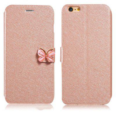Silk Grain Crystal Butterfly Clasp Cover Case for iPhone 6 Plus / 6S Plus