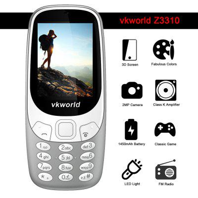 Vkworld Z3310 Quad Band Unlocked PhoneCell phones<br>Vkworld Z3310 Quad Band Unlocked Phone<br><br>Additional Features: FM, Bluetooth, MP3, People<br>Back-camera: 2.0MP<br>Battery: 1 x 1450mAh<br>Bluetooth: Yes<br>Brand: VKWORLD<br>Camera type: Single camera<br>Cell Phone: 1<br>Charger: 1<br>English Manual: 1<br>External Memory: TF card up to 8GB (not included)<br>Frequency: GSM 850/900/1800/1900MHz<br>Languages: English, French, German, Russian, Italian<br>Music format: MP3<br>Network type: GSM<br>Package size: 14.50 x 8.50 x 7.00 cm / 5.71 x 3.35 x 2.76 inches<br>Package weight: 0.1980 kg<br>Picture format: JPEG<br>Product size: 12.60 x 5.50 x 1.55 cm / 4.96 x 2.17 x 0.61 inches<br>Product weight: 0.0680 kg<br>Screen size: 2.4 inch<br>SIM Card Slot: Dual SIM, Dual Standby<br>TF card slot: Yes<br>Type: Bar Phone<br>Video format: MP4