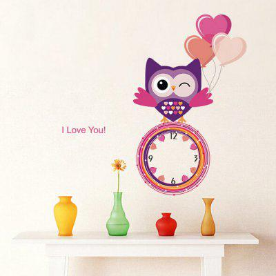 Cartoon Owl Style Wall Clock Sticker
