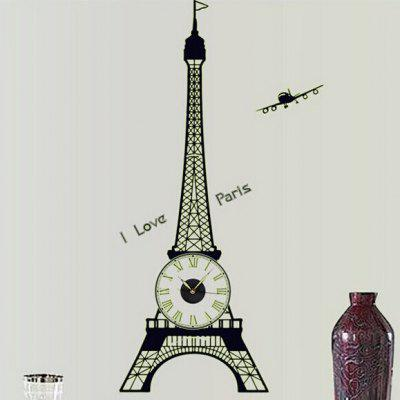 Eiffel Tower Fluorescent Wall Clock Sticker
