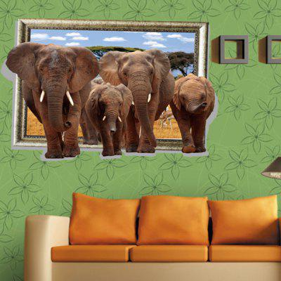 DSU Forest Elephant Group Landscape Wall Sticker