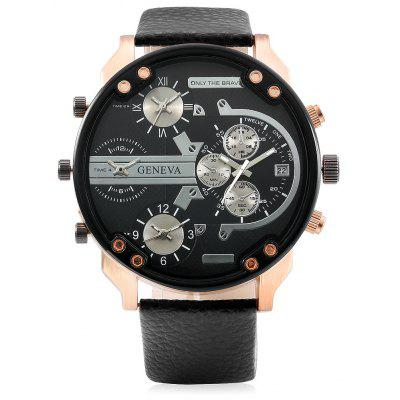 GENEVA 490 4-movt Men Watch with Leather Band