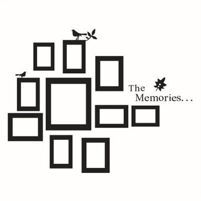 Black Photo Frame Patterns Wall Sticker Memory Quotes