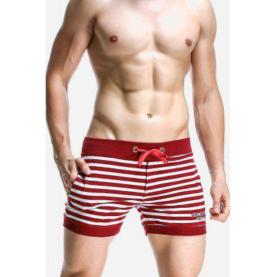 Male Comfortable Stylish Casual Breathable Cotton Striped Home Shorts