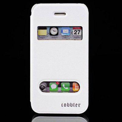 Cool Lichee Style Window View Sheepskin + PC Case for iPhone 4 / 4S with Stand Function