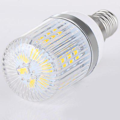 E14 24 x 5730 SMD LED AC220V Corn Lamp Silver Edge with Stripe Lamp Shade  -  Warm White Light