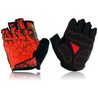 F043 2PCS Red Flame Design Bicycle Bike Gloves Half - finger Cycling Gloves