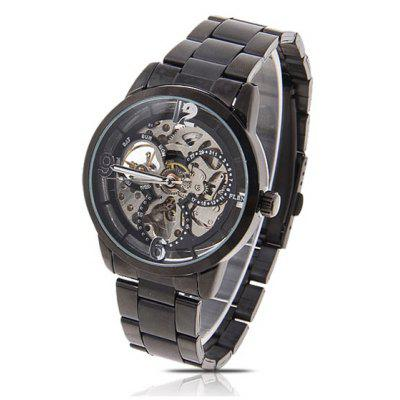 Best Flent Men's Mechanical Wrist Analog Watch with Round Shaped Dial Water Resistant - Black