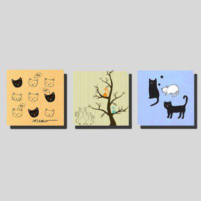 Colorful 3PCS Unframed Prints Modern Cute Cats Wall Art
