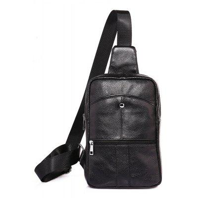 Men Stylish Solid Color Leather Shoulder Bag