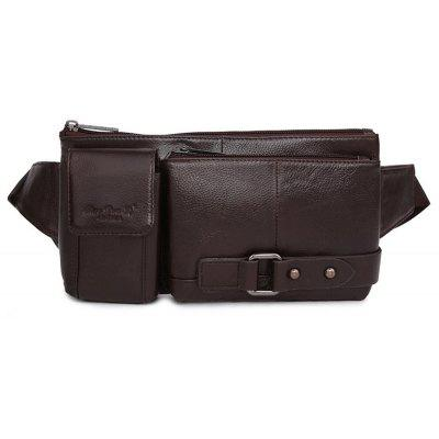 Men Casual Solid Color Leather Waist Bag