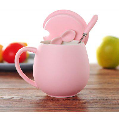 420ml Belly Shape Ceramic Coffee Cup with Cover and Spoon