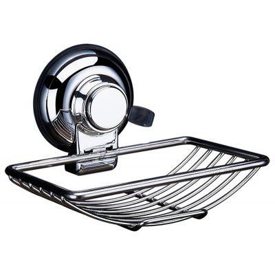 Stainless Steel Framed Nail-free Soap Holder with Powerful Reusable Sucker