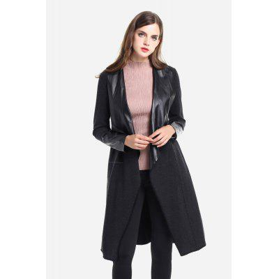 Knee-length Jointed Leather Shawl Lapel Trench for Women