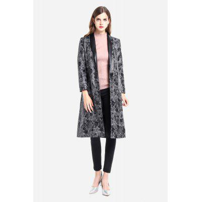 Printed Knee-length Shawl Lapel Trench for Women
