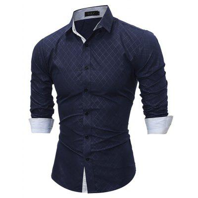 Image result for Men Button Down Long Sleeve Inner Contrast Shirt gearbest