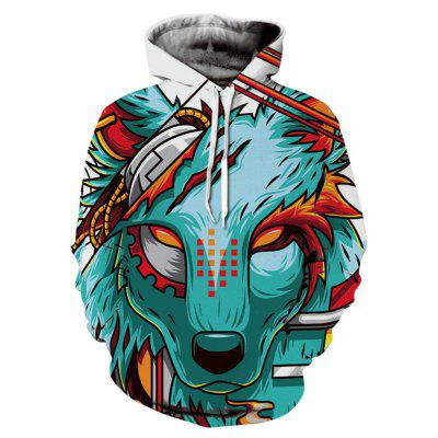 Fashionable Unique 3D Wolf Printing Male Hoodie