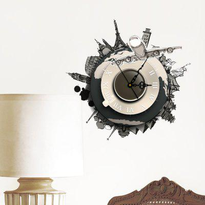SZ - 044 3D Clock Stickers for Bedroom Walls Removable