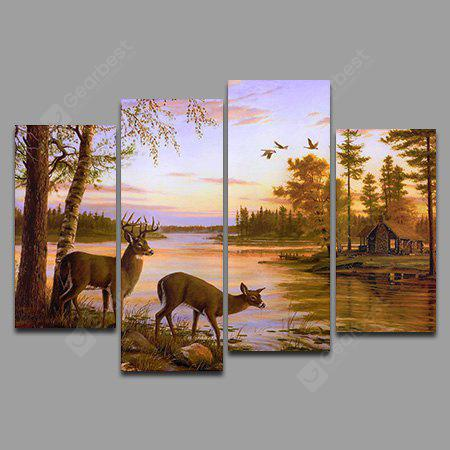 4PCS Lakeside Deer Pattern Home Decoration Wall Background Canvas Painting