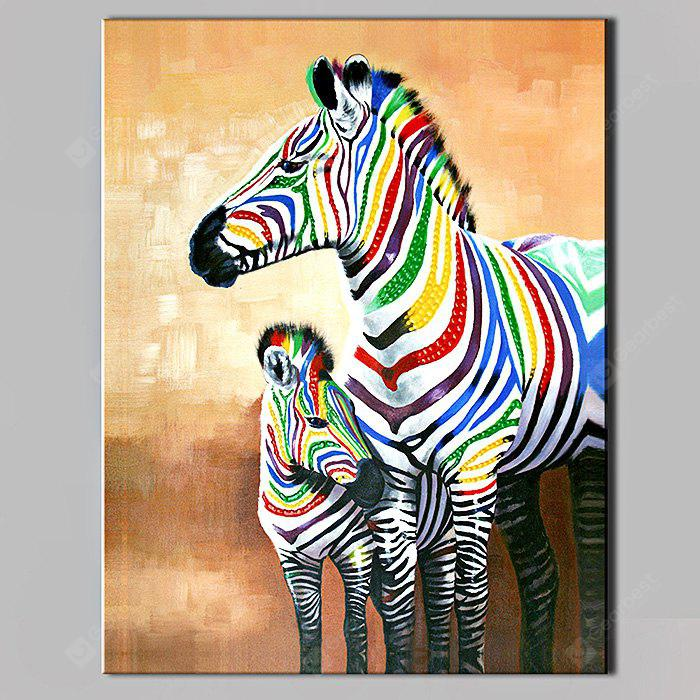 YHHP Abstract Hand Painted Two Zebras Oil Painting
