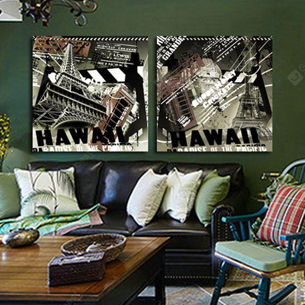 2PCS The Bottom of the Tower Printing Canvas Wall Decoration