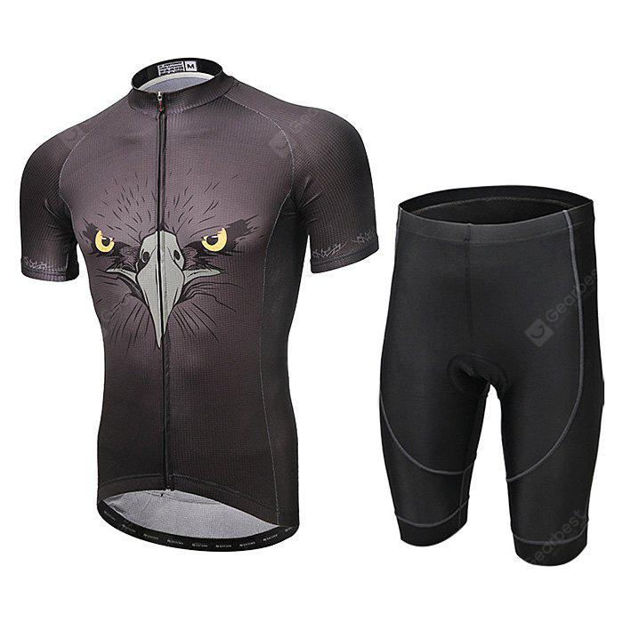 XINTOWN Men's Short Sleeve Black Eagle Cycling Suit