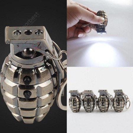 Metal Key Chain Simulation Grenade Laser Detector LED Flashlight - SILVER