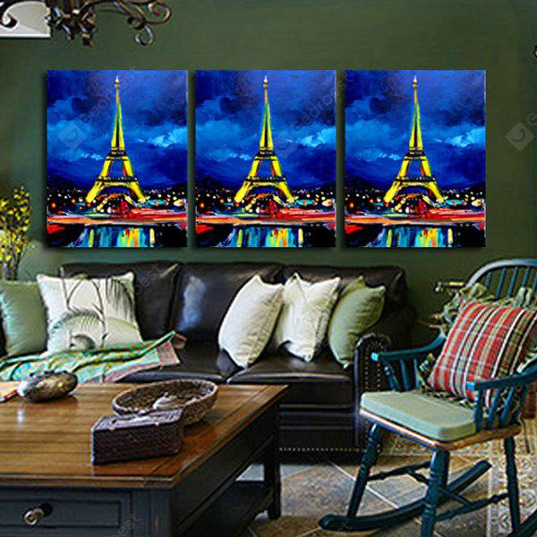 3PCS Tower Neon Lights Printing Canvas Wall Decoration