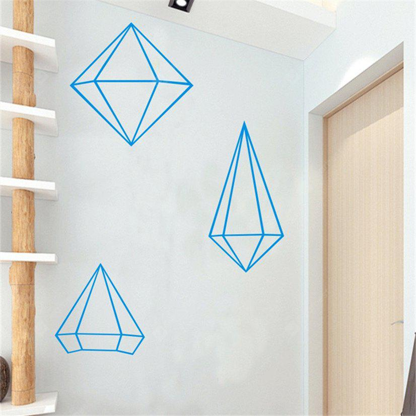 Buy AY - 368 Creative DIY Geometric Style Wall Sticker BLUE