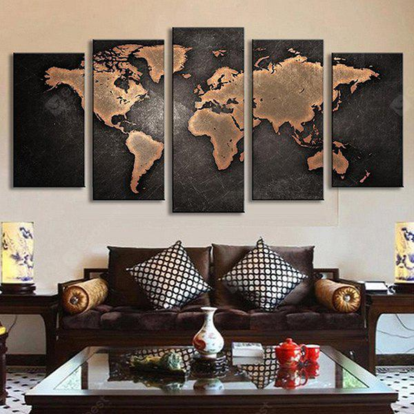 5PCS Retro World Map Printed Canvas Print Unframed Wall Art - BROWN