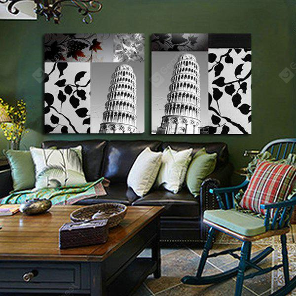 Leaning Tower Printing Canvas Wall Decoration 2PCS