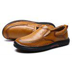 Men All-match Casual Business Slip-on Leather Shoes - LIGHT BROWN