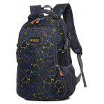 Men Fashion Printed Nylon Backpack - BLACK