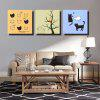 Colorful 3PCS Unframed Prints Modern Cute Cats Wall Art - COLORMIX
