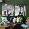 2PCS Tower and Leaning Tower Printing Canvas Wall Decoration - MULTI