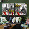 Tower Printing Canvas Wall Decoration 2pcs - MULTI