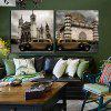 2pcs House Tower Printing Canvas Wall Decoration - MULTICOLOR
