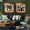 2PCS Triumphal Arch Printing Canvas Wall Decoration - MULTI
