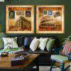 2PCS Classical Castle Printing Canvas Wall Decoration - MULTI